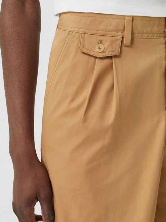 Icon Stripe Detail Cotton Twill Tailored Shorts in Camel - Men | Burberry United States - cell image 1