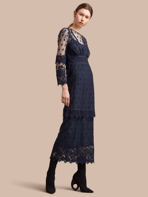 Embroidered Tulle Panel Dress