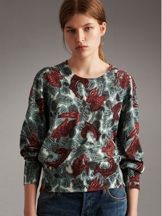 Beasts Print Cotton Sweater in Pale Celadon - Women | Burberry Singapore