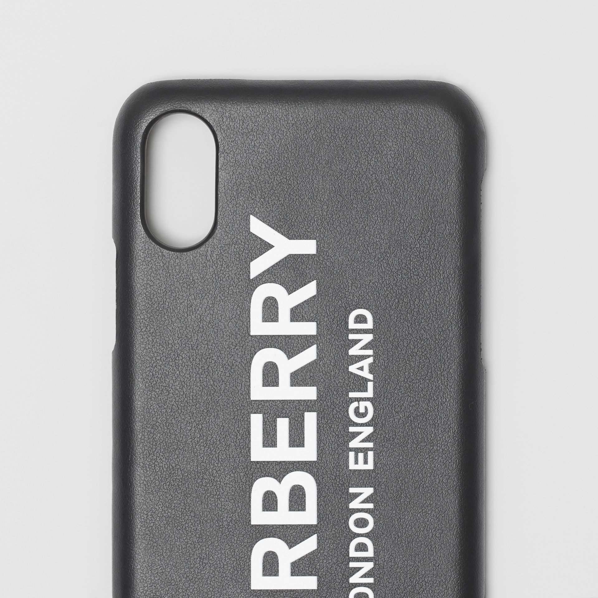 Logo Print Leather iPhone X/XS Case in Black | Burberry - gallery image 1