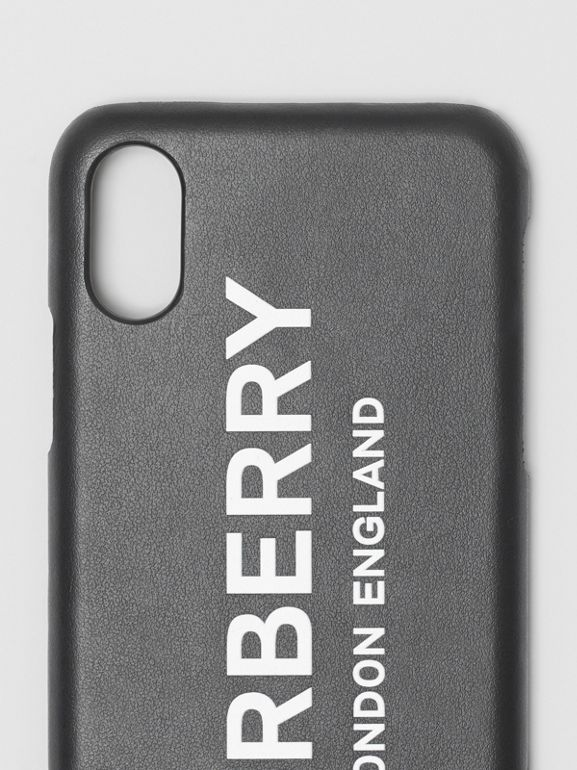 Funda para iPhone X/XS en piel con estampado de logotipo (Negro) | Burberry - cell image 1