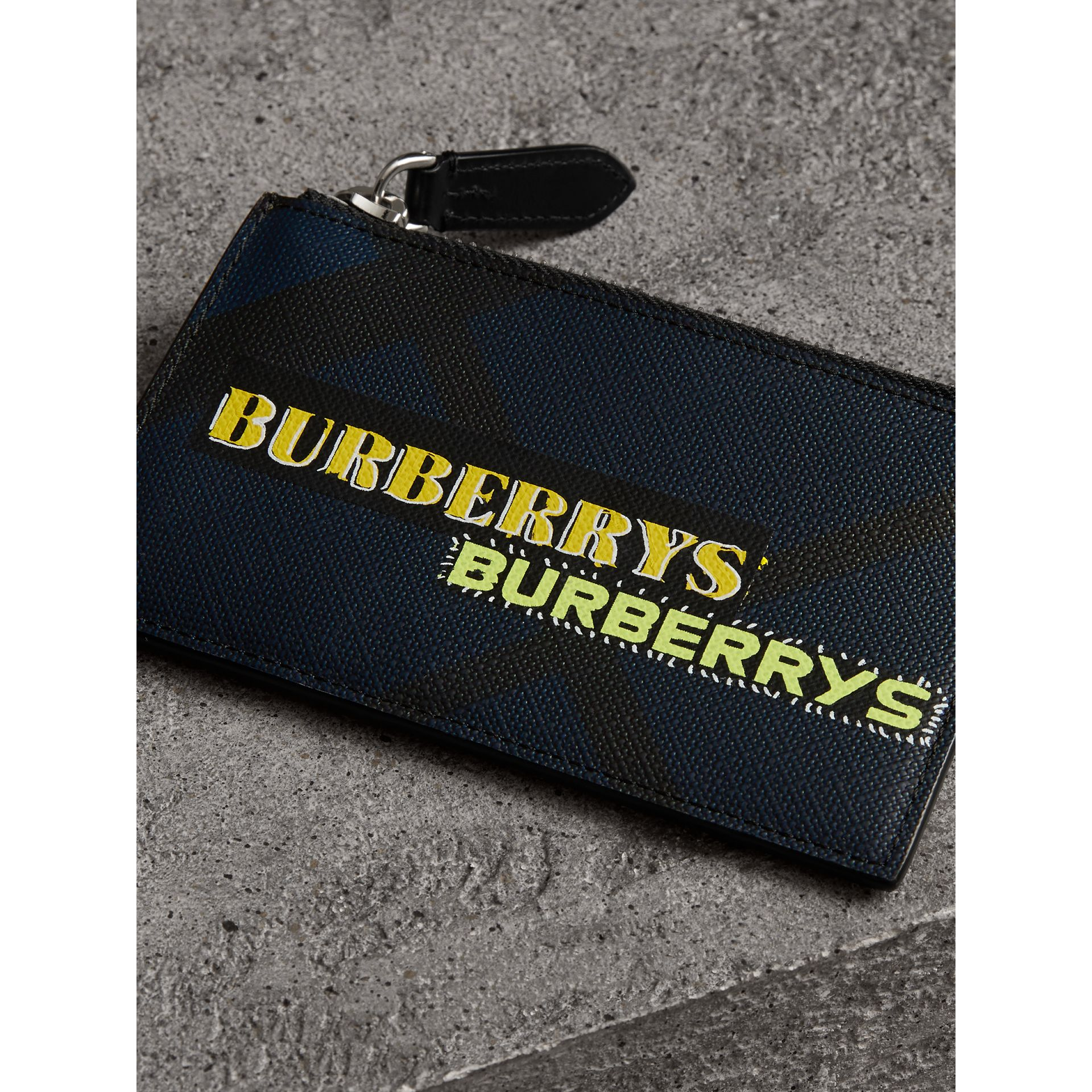 Logo Print London Check Zip Card Case in Charcoal | Burberry Canada - gallery image 2