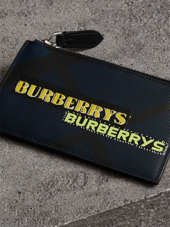 Logo Print London Check Zip Card Case in Charcoal | Burberry Canada - cell image 2