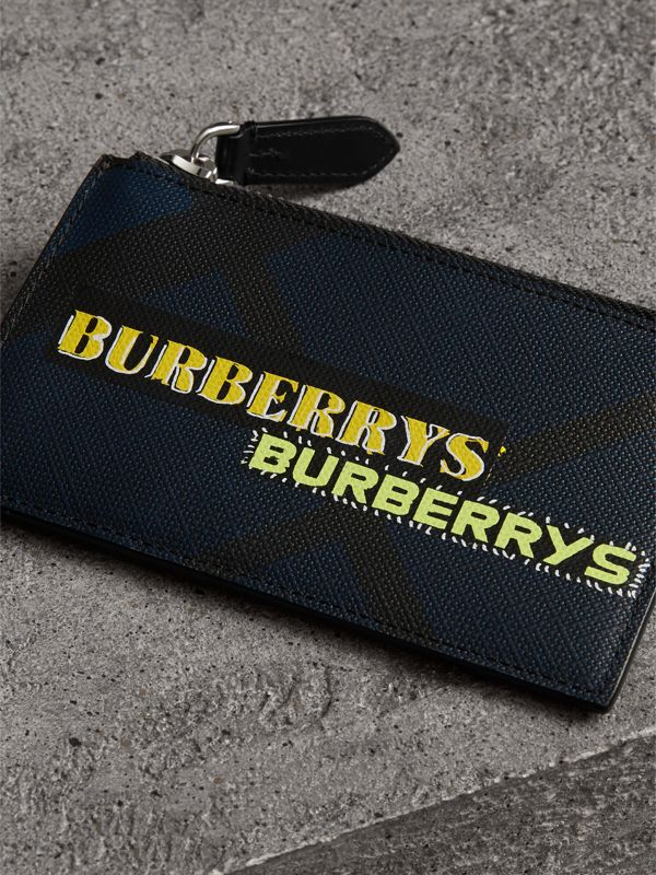 Logo Print London Check Zip Card Case in Charcoal | Burberry - cell image 2