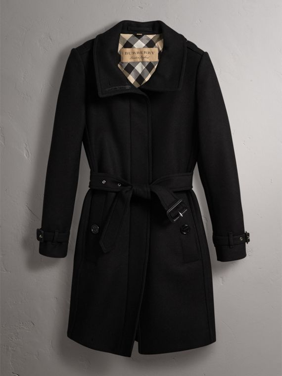 Technical Wool Cashmere Funnel Neck Coat in Black - Women | Burberry Canada - cell image 3