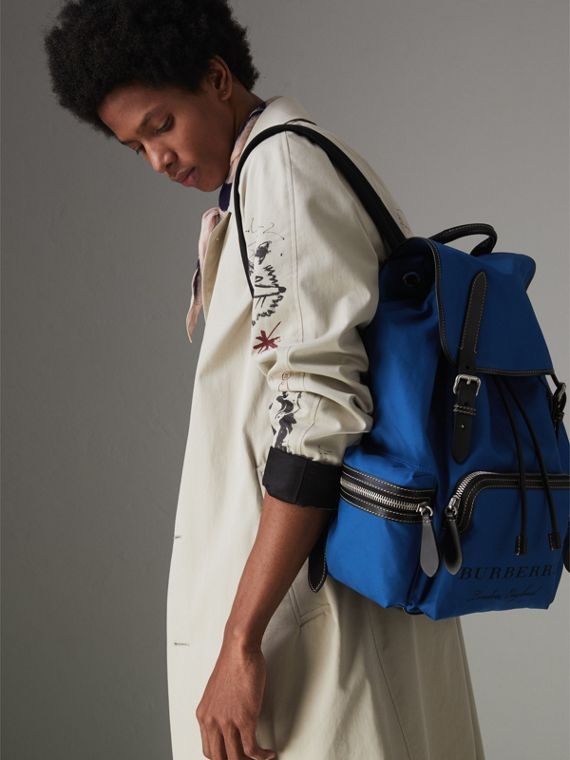The Large Rucksack in Cotton Canvas in Bright  Blue