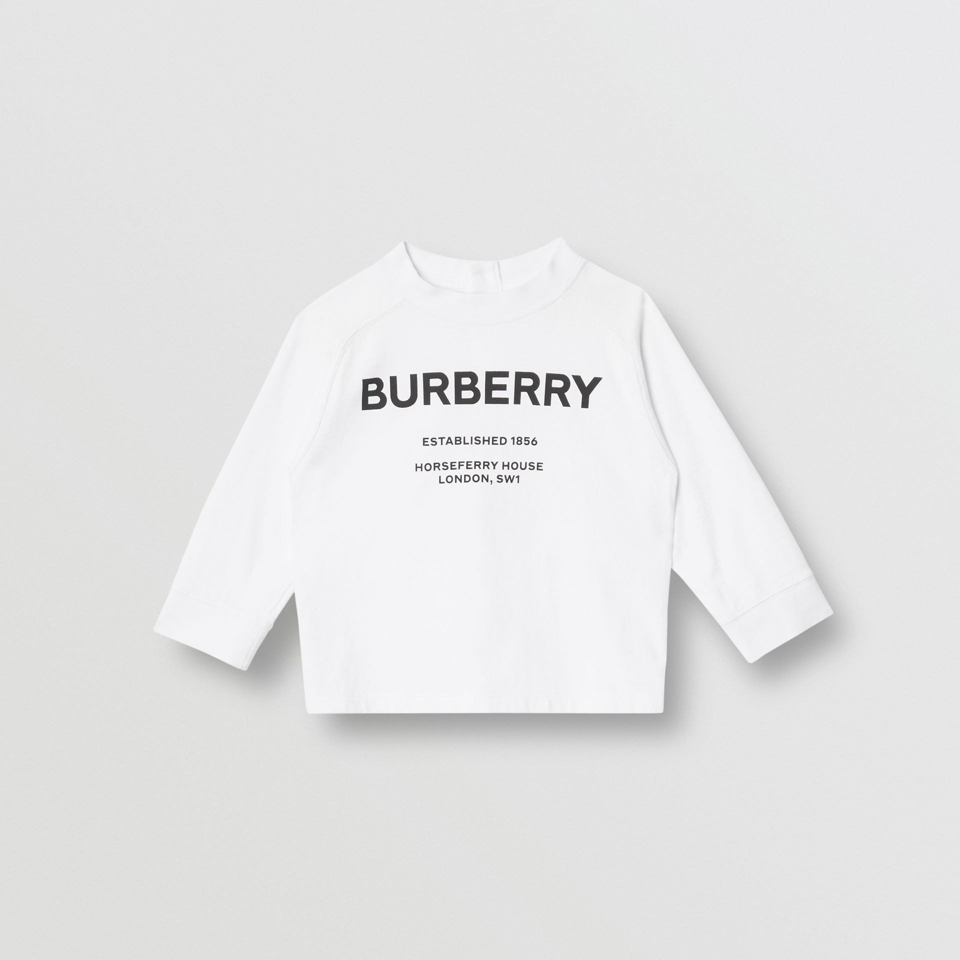 Long-sleeve Horseferry Print Cotton Top in White - Children | Burberry - gallery image 0