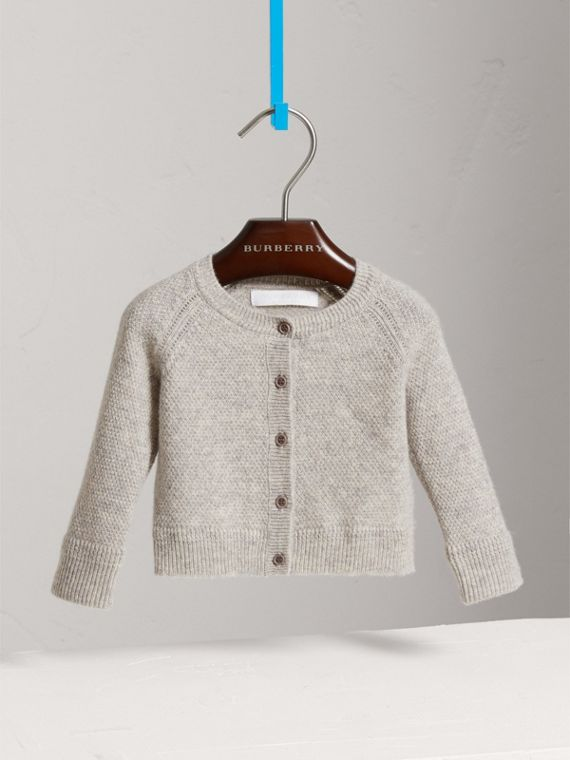 Textured Knit Cashmere Cardigan in Light Grey Melange