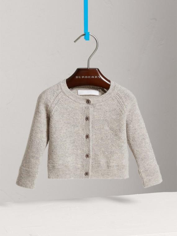 Cardigan in cashmere con lavorazione a maglia effetto texture (Grigio Chiaro Mélange)
