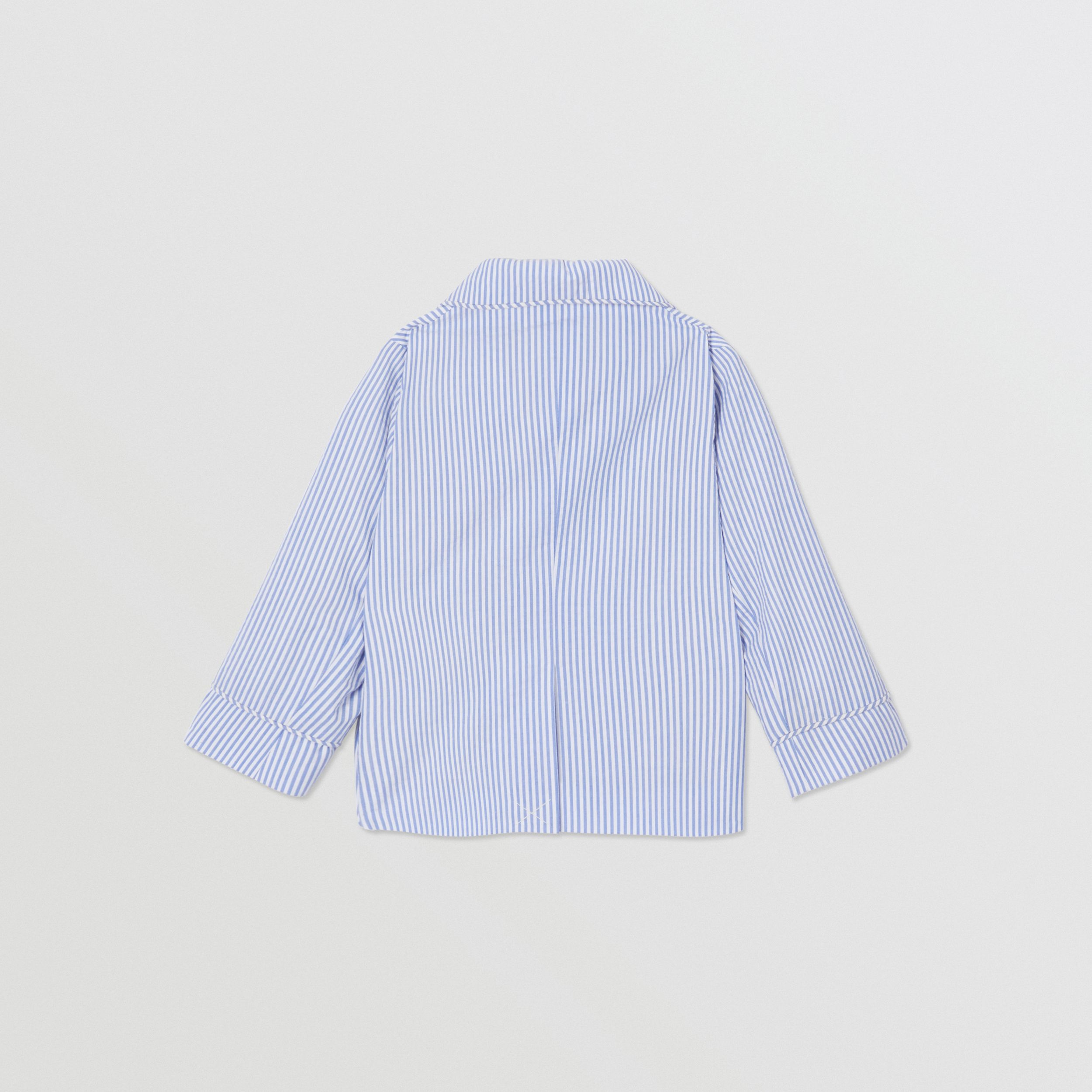 Logo Print Striped Cotton Seersucker Blazer in Cornflower Blue - Children | Burberry - 4