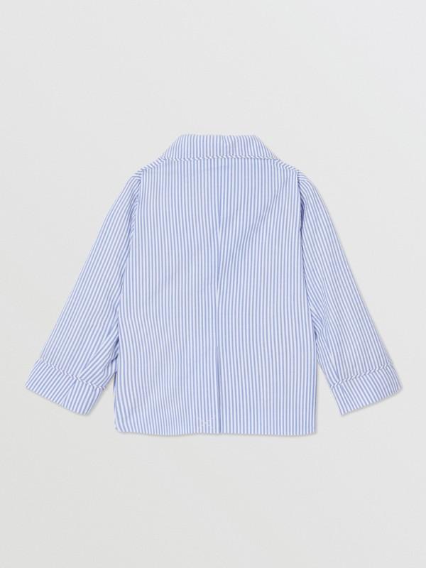 Logo Print Striped Cotton Seersucker Blazer in Cornflower Blue - Children   Burberry Australia - cell image 3