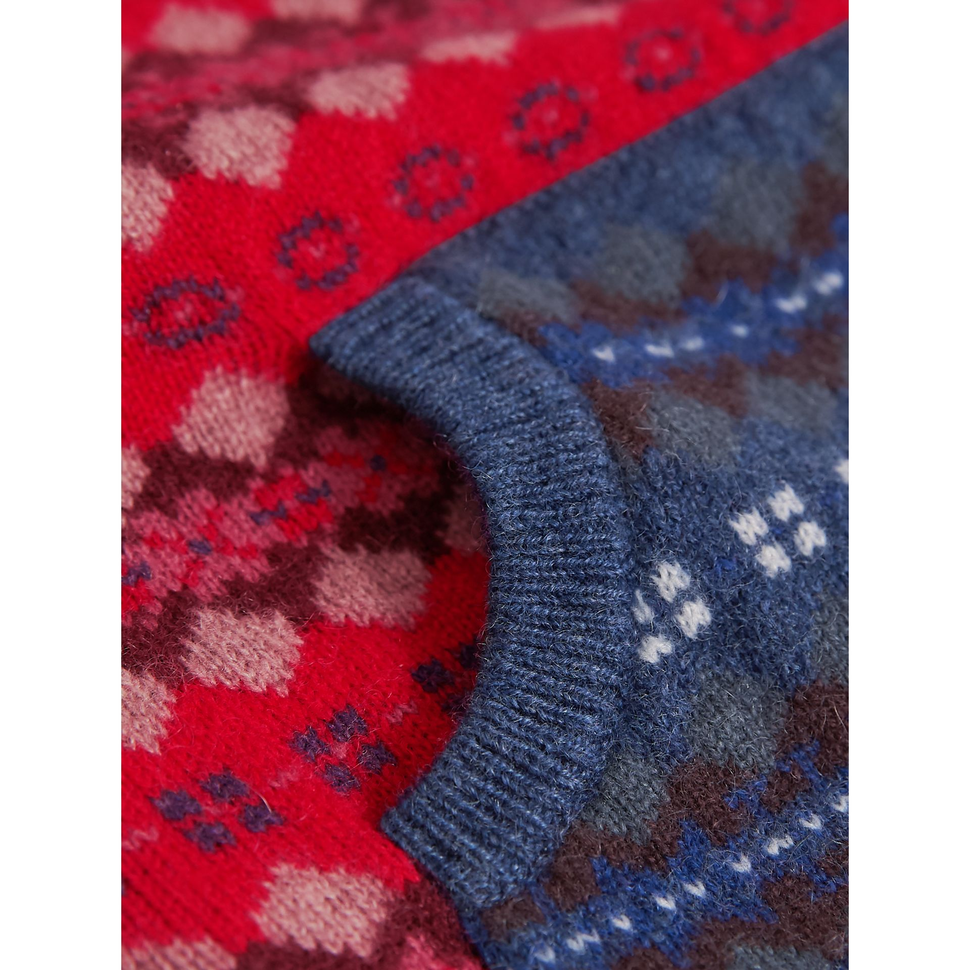 Fair Isle Wool Cashmere Three-piece Baby Gift Set in Rosewood | Burberry - gallery image 1