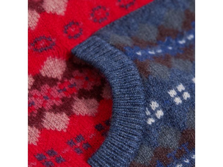 Fair Isle Wool Cashmere Three-piece Baby Gift Set in Rosewood | Burberry Singapore - cell image 1