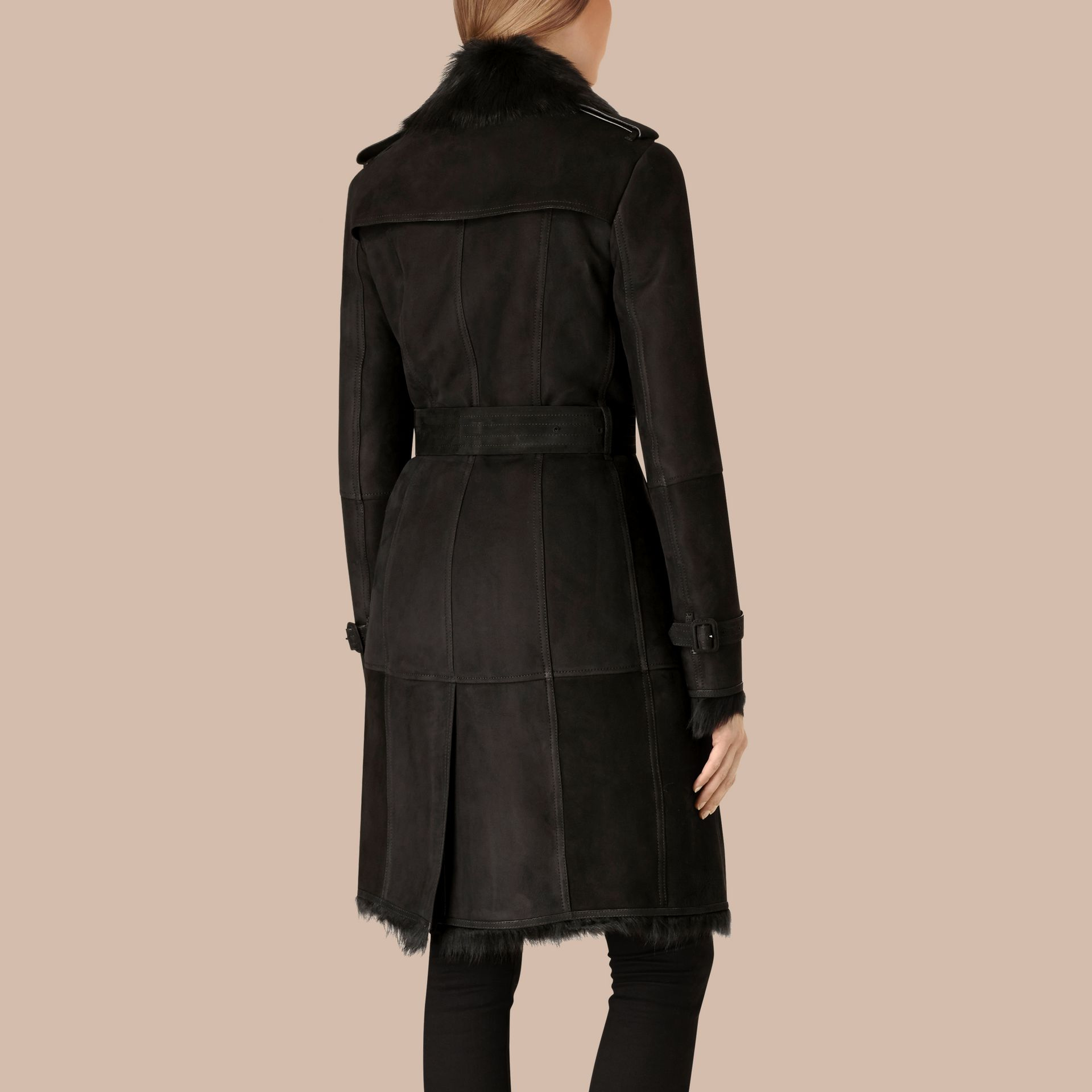 Black Shearling Trench Coat Black - gallery image 4