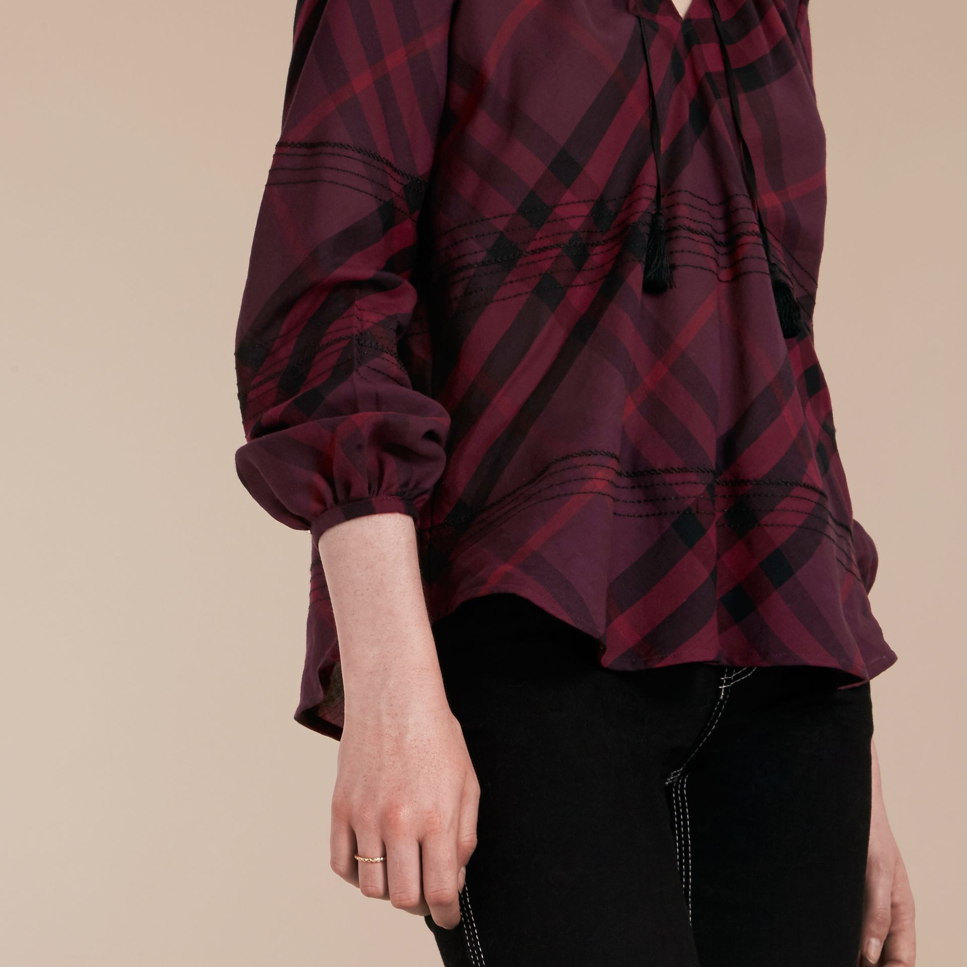 Blackcurrant Topstitched Check Cotton Tunic Top Blackcurrant - gallery image 5