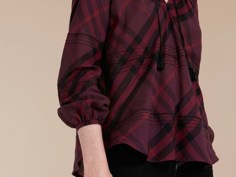 Blackcurrant Topstitched Check Cotton Tunic Top Blackcurrant - cell image 4