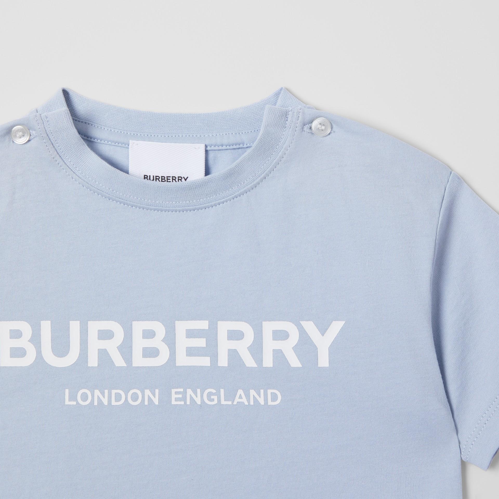 Logo Print Cotton T-shirt in Light Blue - Children | Burberry Canada - gallery image 5