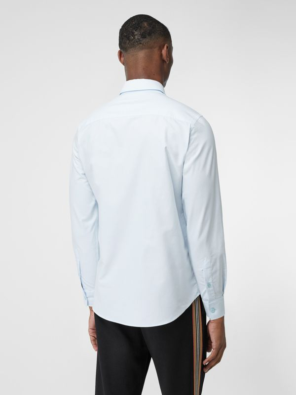 Classic Fit Tape Print Cotton Oxford Shirt in Sky Blue - Men | Burberry - cell image 2