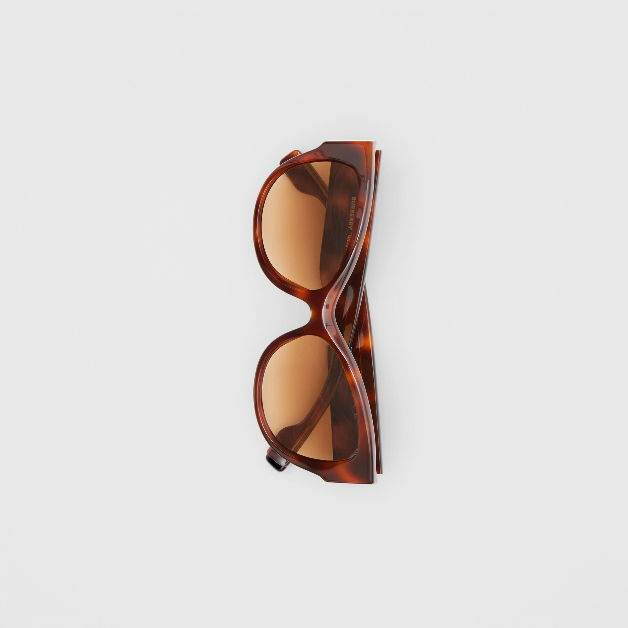 Butterfly Frame Sunglasses in Amber Tortoiseshell - Women | Burberry - 4