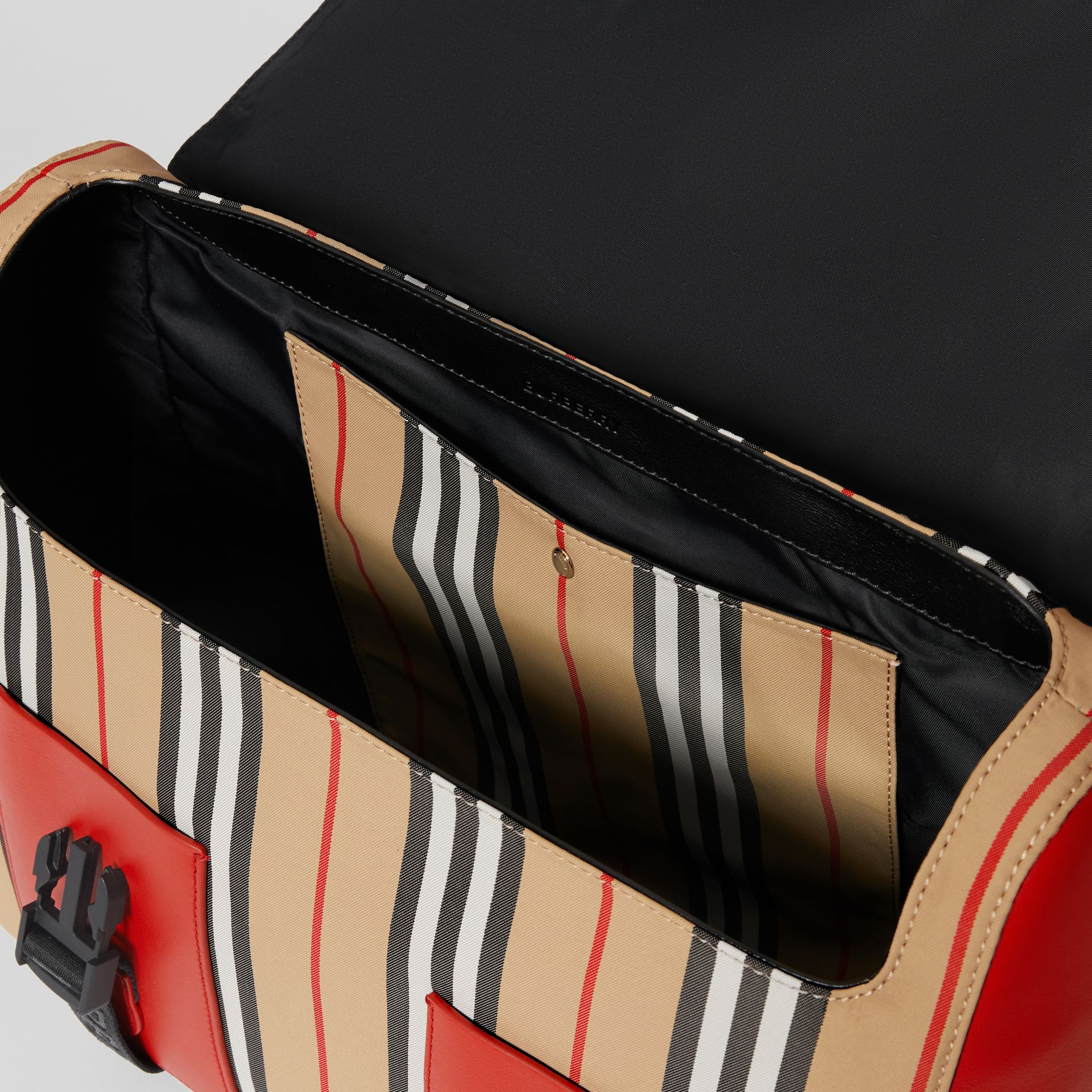 Vintage Check and Icon Stripe Nylon Backpack in Bright Military Red - Children | Burberry - gallery image 3