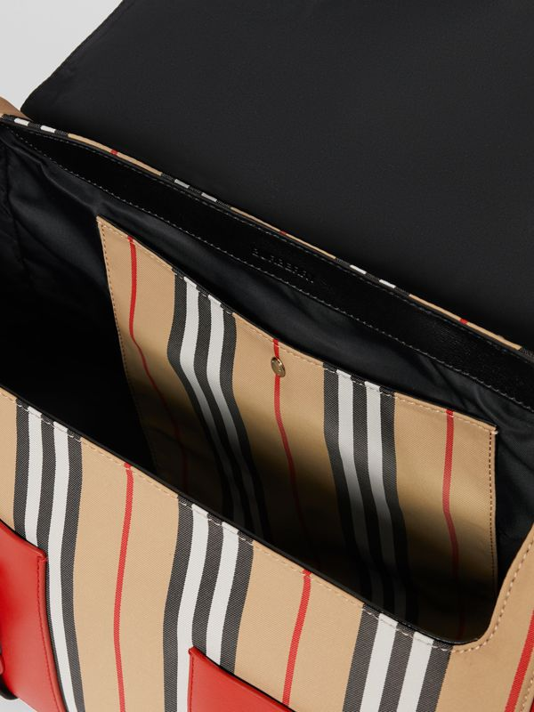 Vintage Check and Icon Stripe Nylon Backpack in Bright Military Red - Children | Burberry - cell image 3