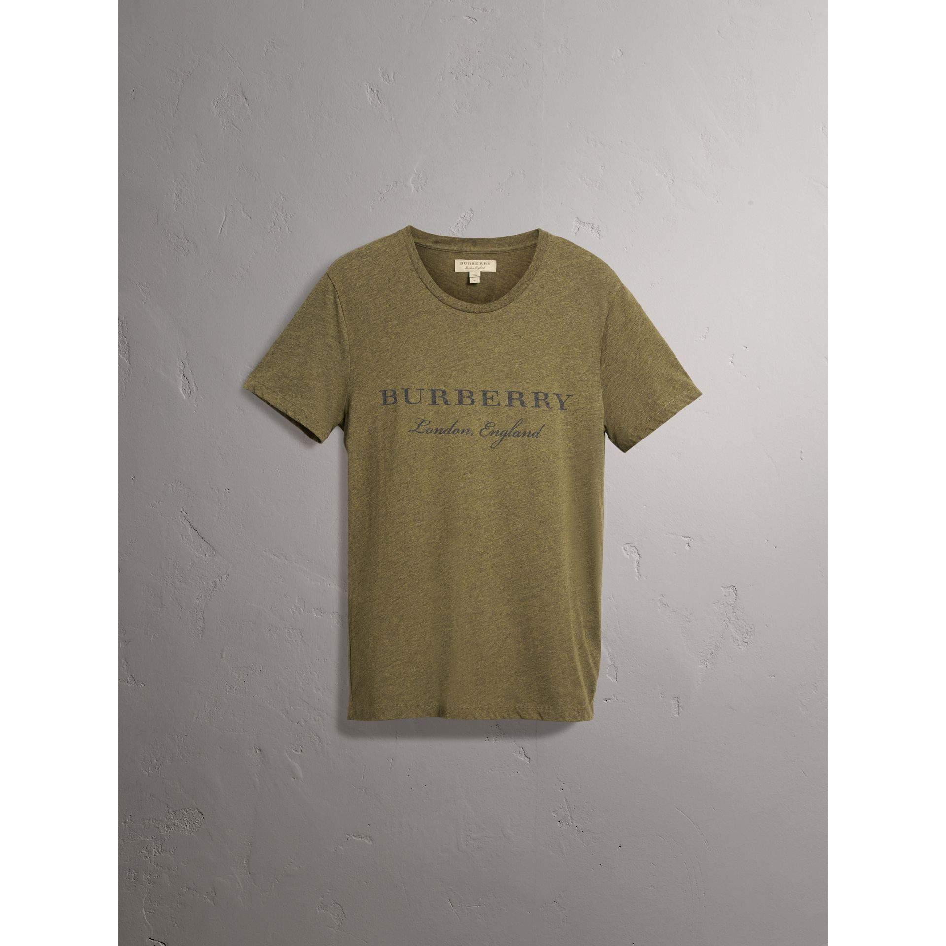 Devoré Cotton Jersey T-shirt in Olive Melange - Men | Burberry - gallery image 4