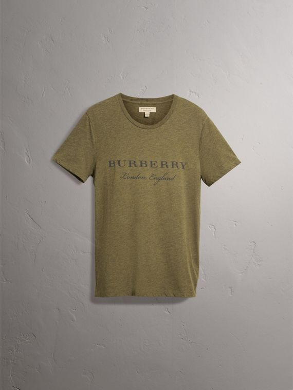 Devoré Cotton Jersey T-shirt in Olive Melange - Men | Burberry - cell image 3