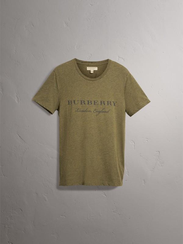 Devoré Cotton Jersey T-shirt in Olive Melange - Men | Burberry - cell image 3
