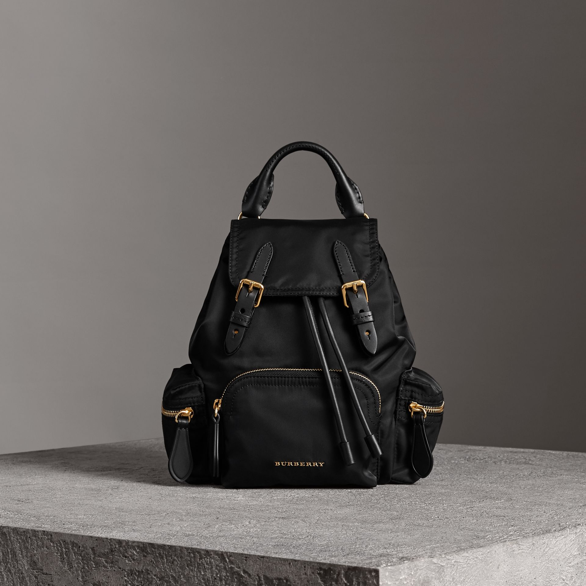 The Crossbody Rucksack in Nylon and Leather in Black - Women | Burberry United Kingdom - gallery image 6
