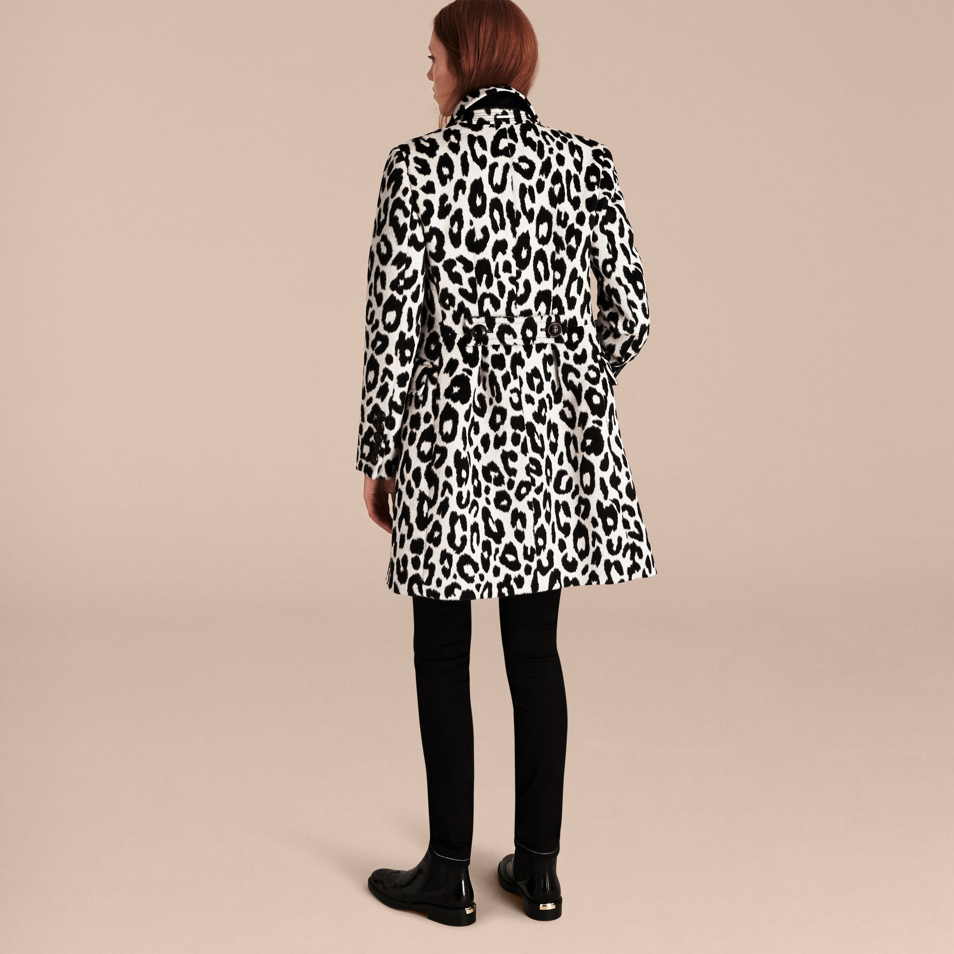 Black/white Leopard Jacquard Lama Wool Coat - gallery image 3