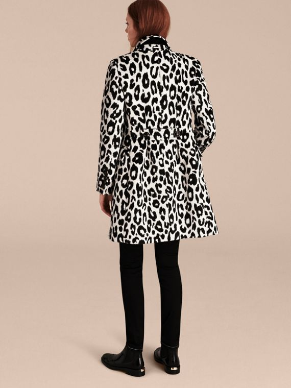 Black/white Leopard Jacquard Lama Wool Coat - cell image 2