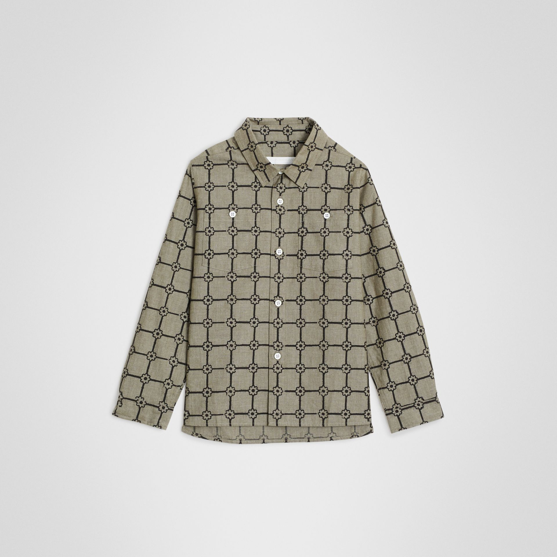 Flower Print Cotton Shirt in Khaki | Burberry Australia - gallery image 0