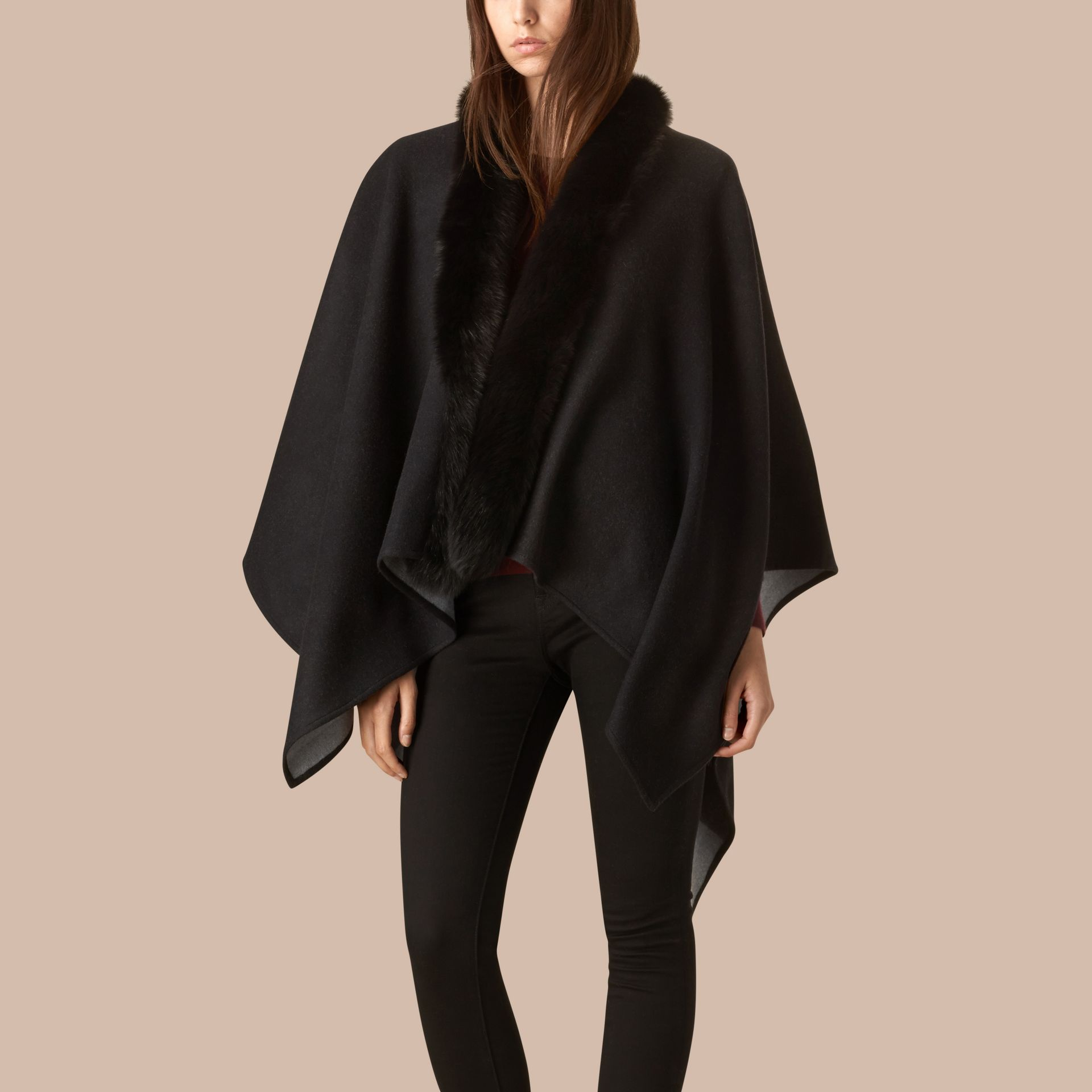 Charcoal Fur-trimmed Merino Wool Poncho - gallery image 1