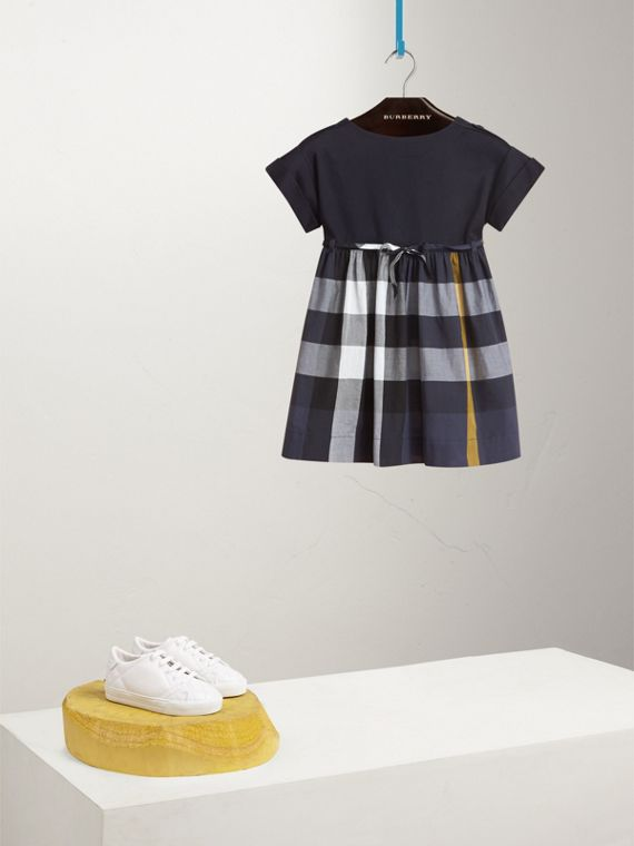 Cap Sleeve Check Cotton Dress in Pale Navy