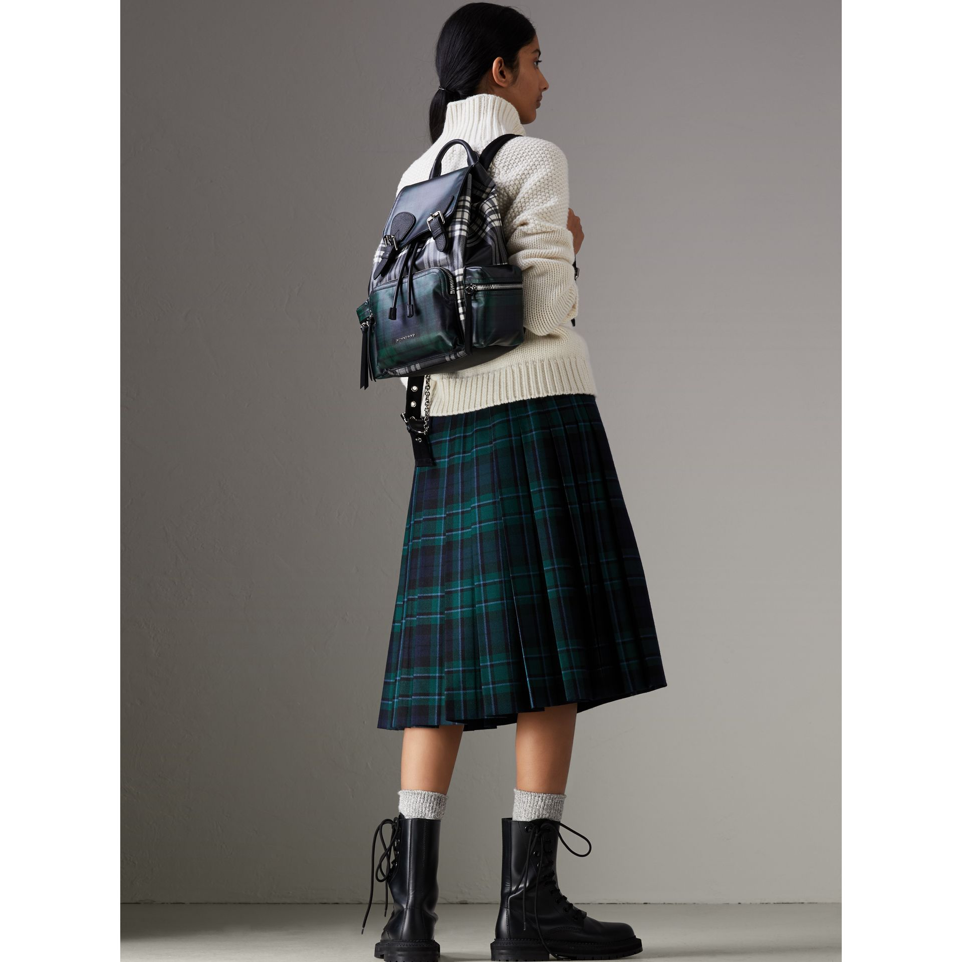 The Medium Rucksack in Laminated Tartan in Black/white - Women | Burberry - gallery image 2