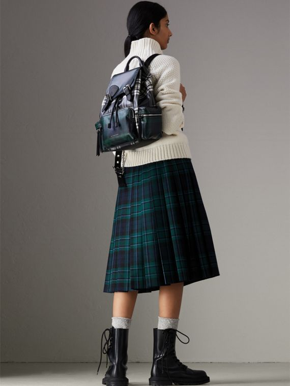 The Medium Rucksack in Laminated Tartan in Black/white - Women | Burberry Australia - cell image 2