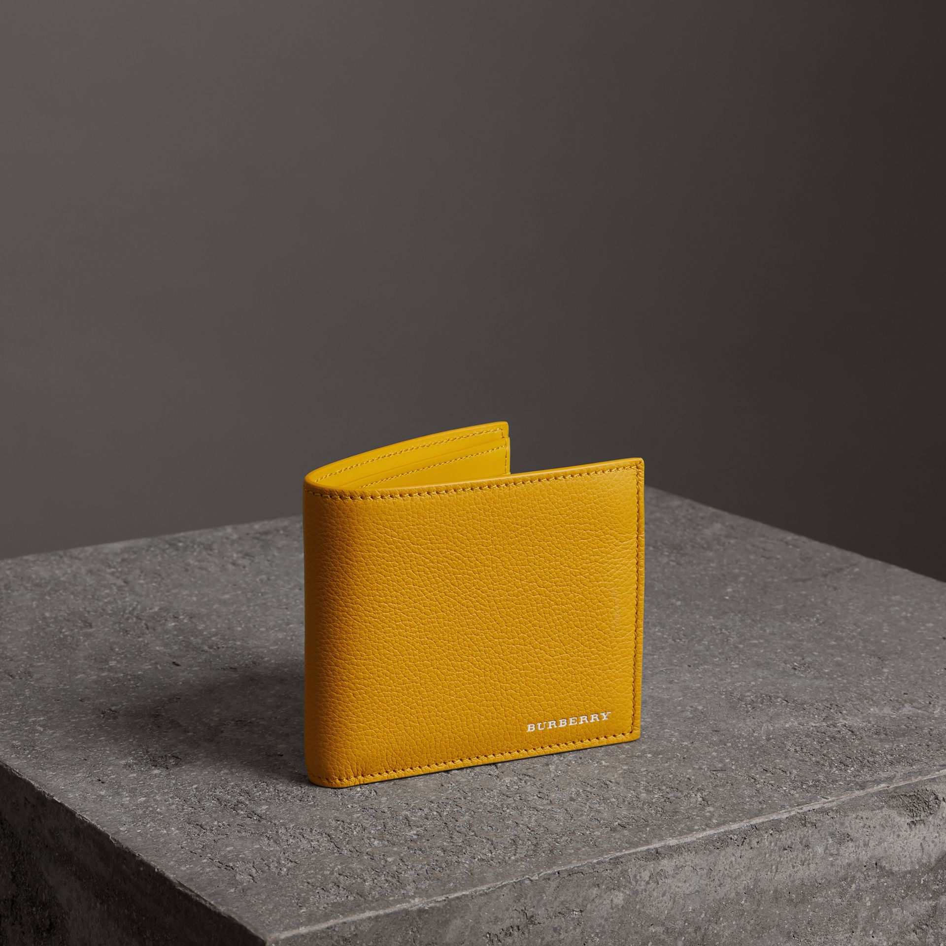 Grainy Leather International Bifold Wallet in Bright Ochre Yellow - Men | Burberry Australia - gallery image 0