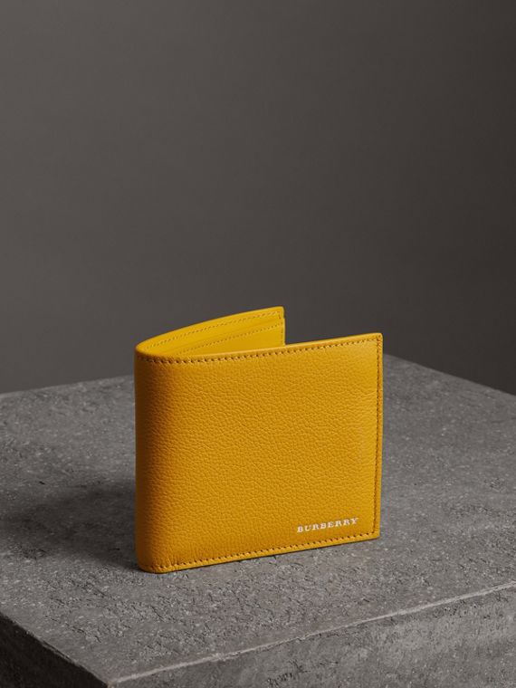 Grainy Leather International Bifold Wallet in Bright Ochre Yellow