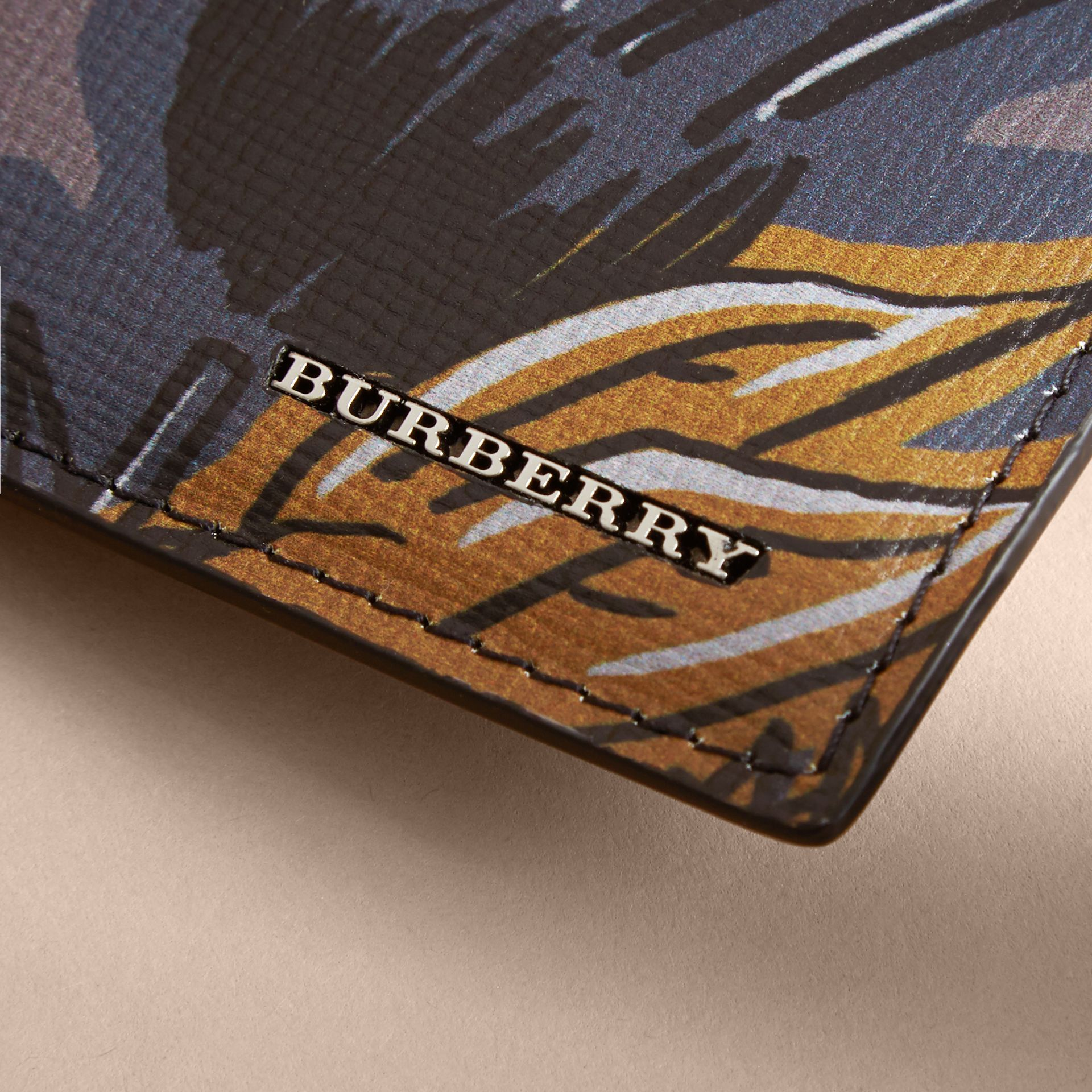 Beasts Print Leather Card Case in Navy Grey - Men | Burberry - gallery image 2