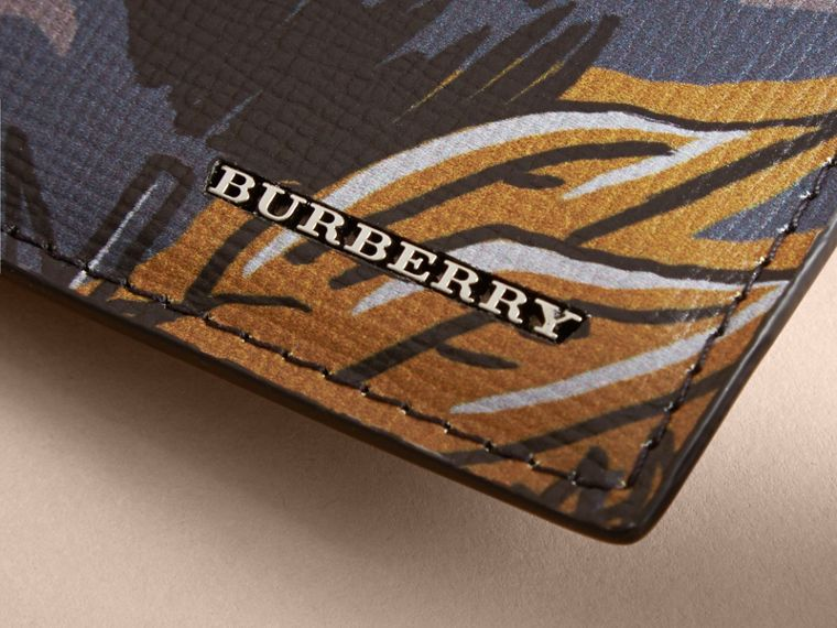 Beasts Print Leather Card Case in Navy Grey - Men | Burberry - cell image 1