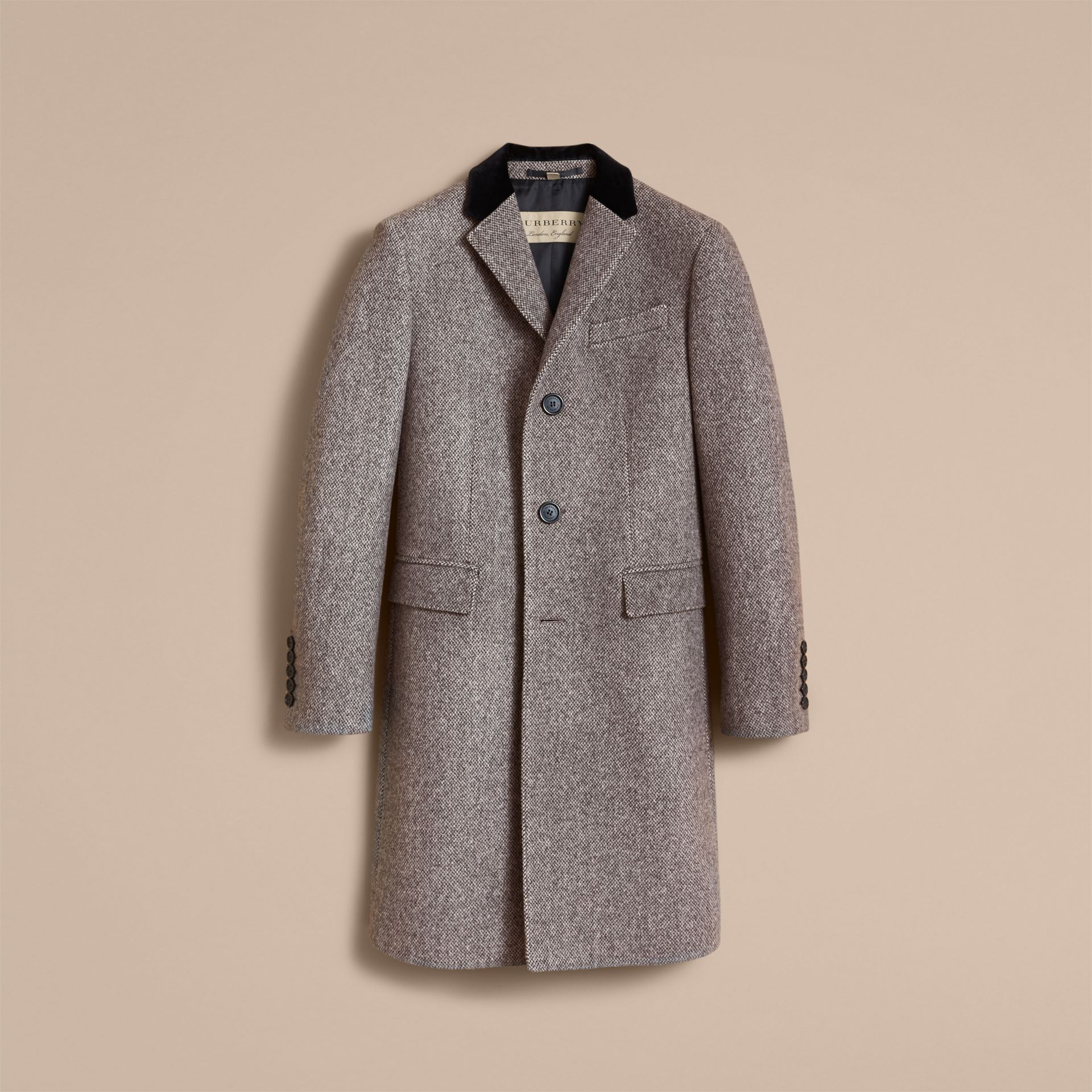 Velvet Collar Wool Tweed Topcoat - Men | Burberry - gallery image 4