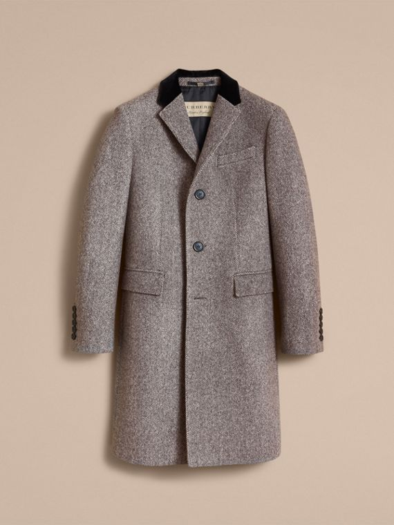 Velvet Collar Wool Tweed Topcoat in Black - Men | Burberry - cell image 3