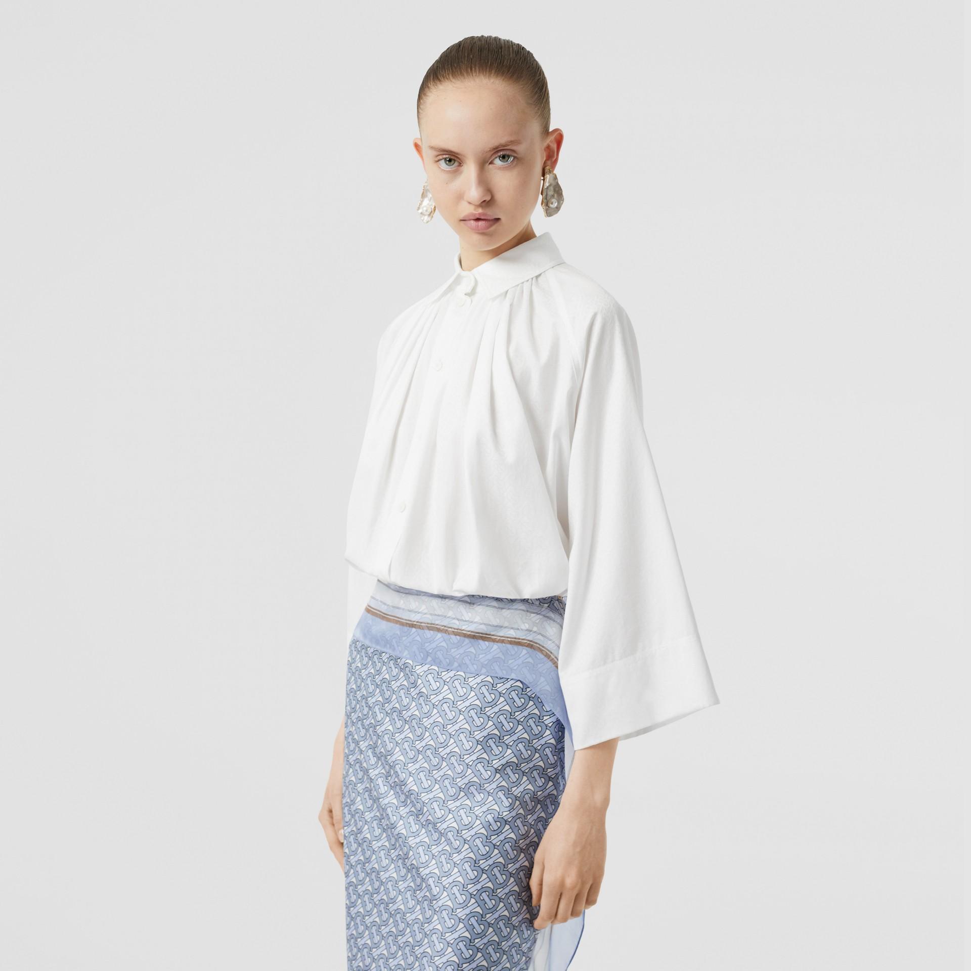モノグラムコットン ジャカード オーバーサイズシャツ (オプティックホワイト) - ウィメンズ | バーバリー - ギャラリーイメージ 5