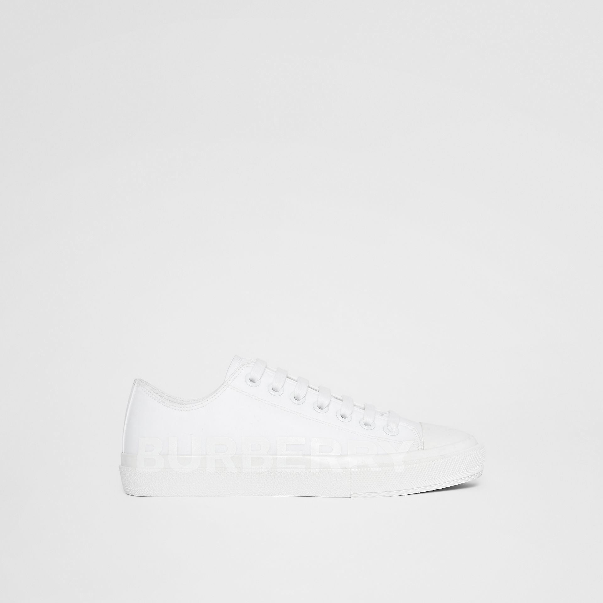 Women's Logo Print Cotton Gabardine Sneakers in Optic White - Women | Burberry United Kingdom - gallery image 7