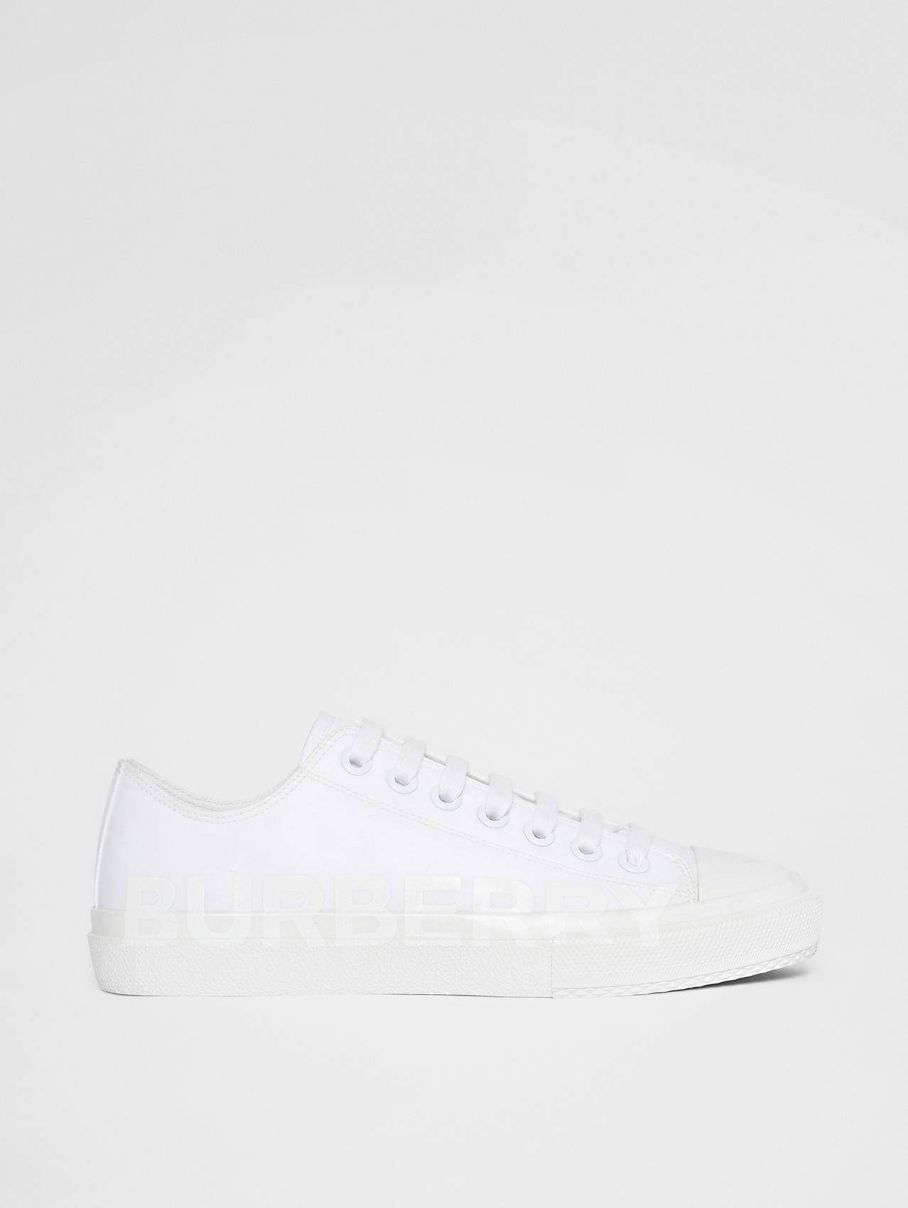 Women's Logo Print Cotton Gabardine Sneakers (Optic White)