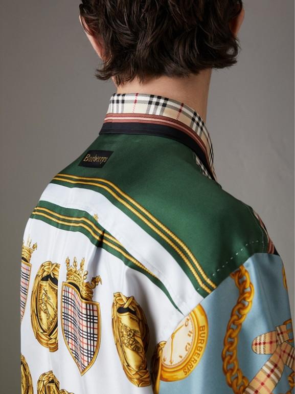 Seidenhemd mit Vintage-Aufdruck (Anthrazitfarben)   Burberry - cell image 1