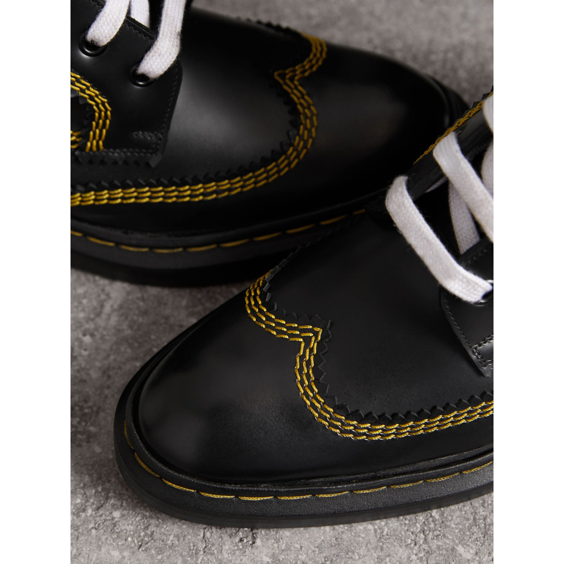 Topstitch Leather Lace-up Boots in Black - Women | Burberry - gallery image 2