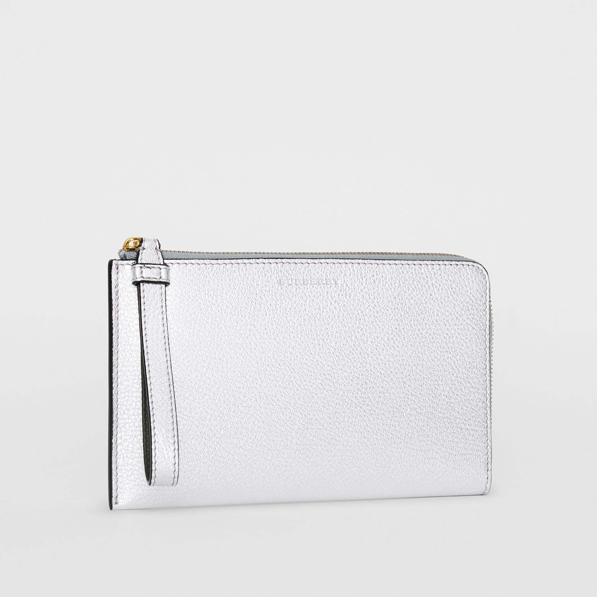 Two-tone Metallic Leather Travel Wallet in Silver - Women | Burberry - gallery image 7