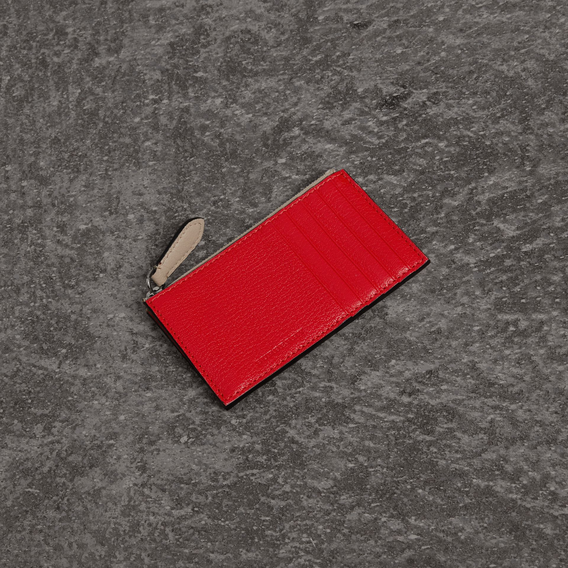 Two-tone Leather Zip Card Case in Bright Red | Burberry Canada - gallery image 0