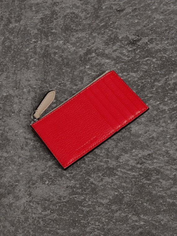 雙色調皮革拉鍊卡片夾 (亮紅色)